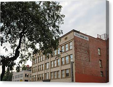 Canvas Print featuring the photograph Old Town Raymond Building Tree View 2 by Matt Harang