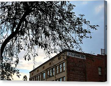 Canvas Print featuring the photograph Old Town Raymond Building Tree View  by Matt Harang