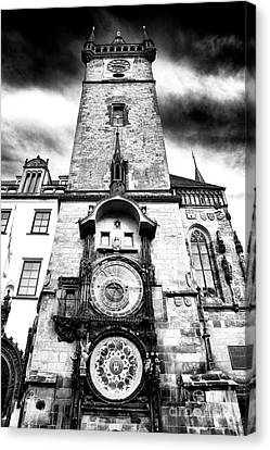 Old Town Square Clock Tower Canvas Print by John Rizzuto