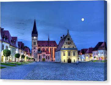 Old Town Square In Bardejov, Slovakia,hdr Canvas Print by Elenarts - Elena Duvernay photo