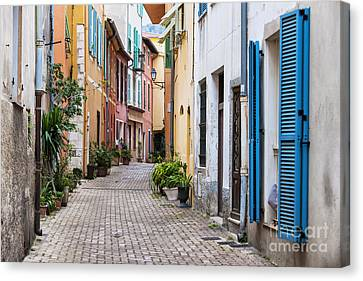 Old Town Street In Villefranche-sur-mer Canvas Print by Elena Elisseeva