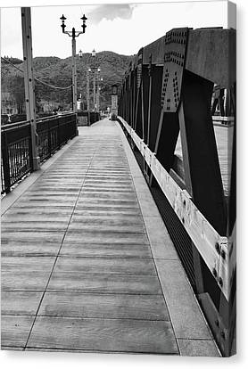 Old Town Temecula Bridge Bw Canvas Print by Russell Keating