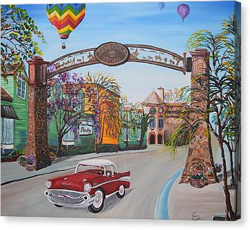 57 Chevy Canvas Print - Old Town Temecula by Eric Johansen