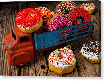 Old Toy Truck And Donuts Canvas Print