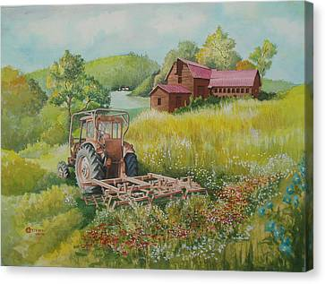 Old Tractor In Hungary Galgaguta Canvas Print by Charles Hetenyi