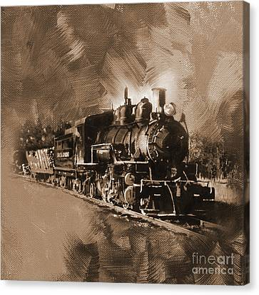 The Bowery Canvas Print - old Train moving   by Gull G