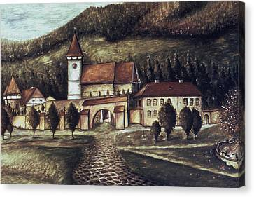 Vintage Canvas Print - Old Transylvania Village - Oil On Canvas by Art America Gallery Peter Potter