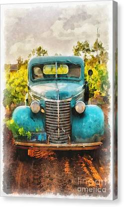 Old Truck At The Winery Canvas Print by Edward Fielding