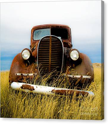 Old Truck In Field Canvas Print