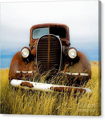 Old Truck In Field Canvas Print by Emilio Lovisa