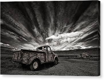 Old Truck (mono) Canvas Print