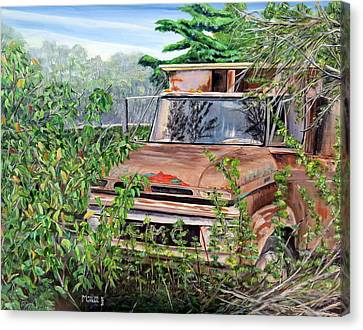 Canvas Print featuring the painting Old Truck Rusting by Marilyn  McNish