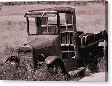 Canvas Print featuring the photograph Old Truck In Sepia by Kae Cheatham