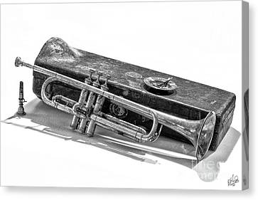 Canvas Print featuring the photograph Old Trumpet by Walt Foegelle