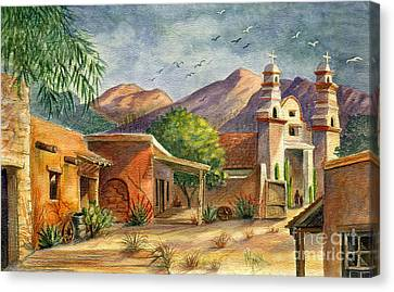 Building Canvas Print - Old Tucson by Marilyn Smith