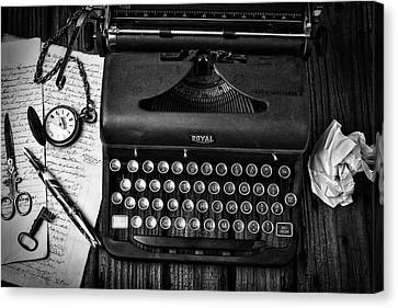 Old Typewriter With Letters Canvas Print by Garry Gay