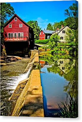 Old Mill Scenes Canvas Print - Old Village Grist Mill by Colleen Kammerer