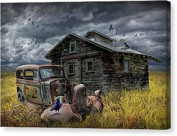 Old Vintage Automobile Junk And Decrepit Building With Flying Geese And Ravens Canvas Print