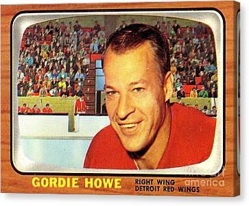 Gordie Howe Canvas Print - Old Vintage Gordie Howe Hockey Card Collectable by Pd