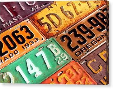 Old Canvas Print - Old Vintage License Plates Number 1 by Design Turnpike