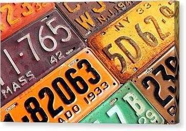 Old Canvas Print - Old Vintage License Plates Number 2 by Design Turnpike
