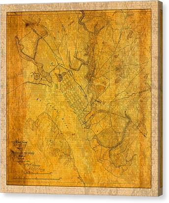 Old Canvas Print - Old Vintage Map Of Jacksonville Florida Circa 1864 Civil War On Worn Distressed Parchment by Design Turnpike