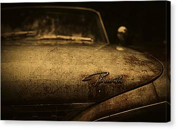 Old Vintage Plymouth Car Hood Canvas Print by Design Turnpike