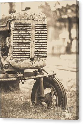 Canvas Print featuring the photograph Old Vintage Tractor Brown Toned by Edward Fielding