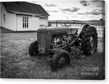 Canvas Print featuring the photograph Old Vintage Tractor Iceland by Edward Fielding
