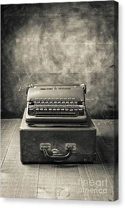 Canvas Print featuring the photograph Old Vintage Typewriter  by Edward Fielding