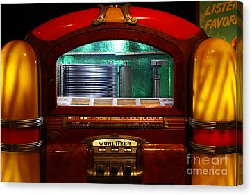 Old Vintage Wurlitzer Jukebox . 7d13100 Canvas Print by Wingsdomain Art and Photography