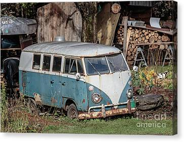 Abandoned Cars Canvas Print - Old Vw Hippy Bus In Vermont by Edward Fielding