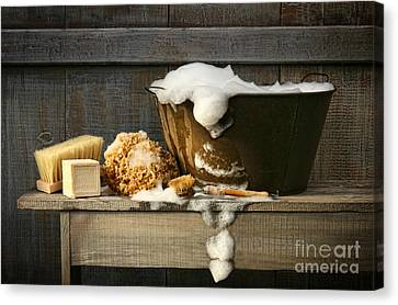 Sponged Canvas Print - Old Wash Tub With Soap On Bench by Sandra Cunningham