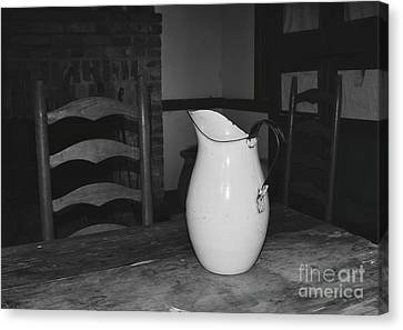 Old Water Pitcher - Black And White Canvas Print by Cindy Nearing