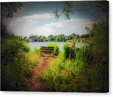 Old Waterfront Bench - Paint Fx Canvas Print by Brian Wallace