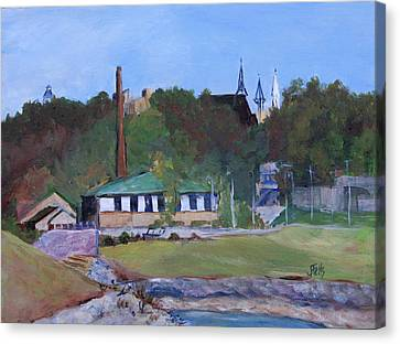 Old Waterworks Building Canvas Print by Janet Felts