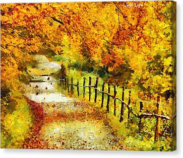 Old Way In Fall - Pa Canvas Print by Leonardo Digenio