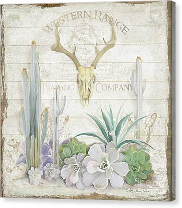 Canvas Print featuring the painting Old West Cactus Garden W Deer Skull N Succulents Over Wood by Audrey Jeanne Roberts