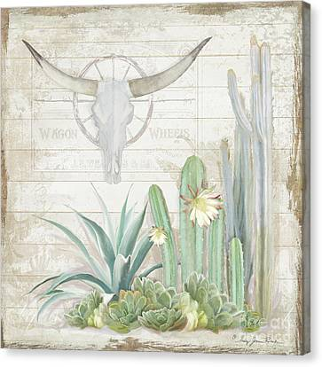 Wagon Wheels Canvas Print - Old West Cactus Garden W Longhorn Cow Skull N Succulents Over Wood by Audrey Jeanne Roberts
