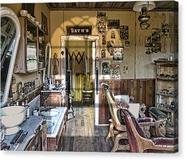 Old West Victorian Barber Shop Interior - Montana Territory Canvas Print by Daniel Hagerman