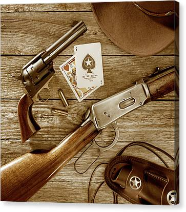 Old West Weapons In Sepia Canvas Print