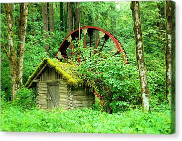 Old Wheel And Cabin Canvas Print