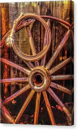 Wooden Wagons Canvas Print - Old Wheel And Rope by Garry Gay