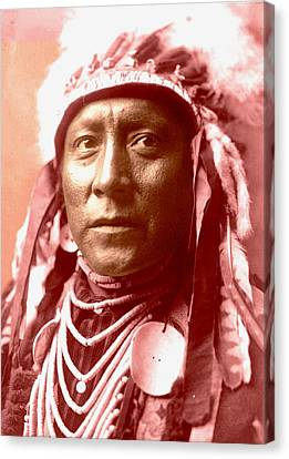Old White Man The Crow Canvas Print by Otis Porritt-Edward Curtis