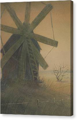Canvas Print featuring the painting Old Windmill by Alla Parsons