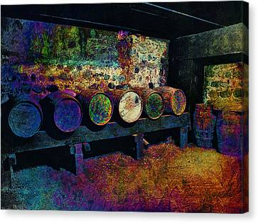 Canvas Print featuring the digital art Old Wine Barrels by Glenn McCarthy Art and Photography