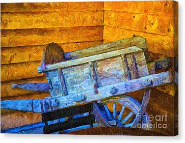 Old Wine Cart Oil Painting Canvas Print