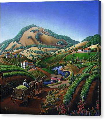 Old Wine Country Landscape Painting - Worker Delivering Grape To The Winery -square Format Image Canvas Print