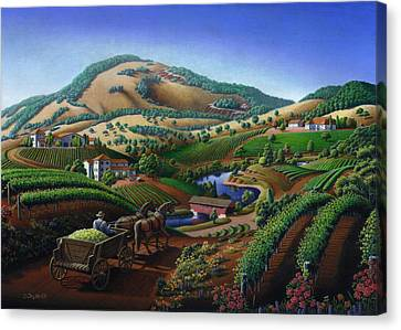 no 24 Greeting Card - Old Wine Country Landscape Painting Canvas Print by Walt Curlee