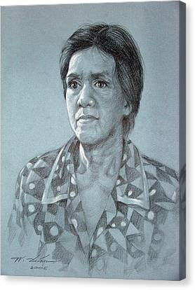 Canvas Print featuring the painting Old Woman by Chonkhet Phanwichien